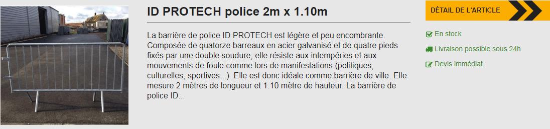 Barrière de police 2 mètres x 1.10 mètres disponible chez ID Acier.