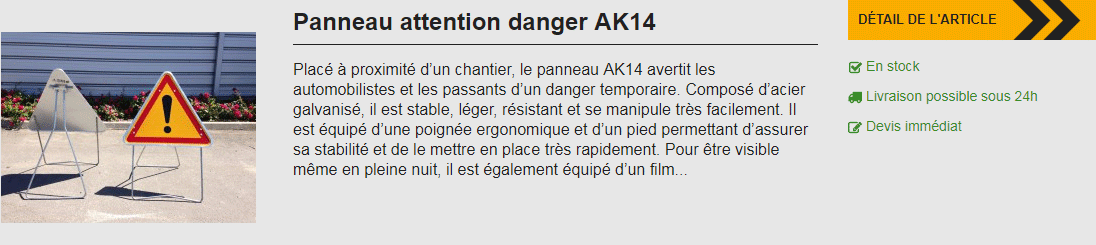 panneau attention danger ak14